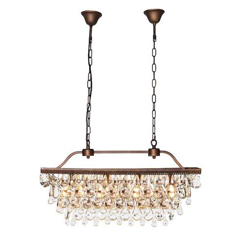 bronze rectangular chandelier shaped crystal drops