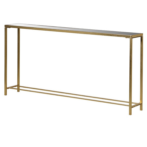 A slim gold console table ideal for a narrow hallway or use to disguise a radiator.