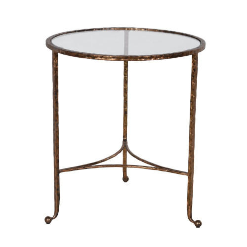 IRON AND GLASS DISTRESSED BRASS ROUND SMALL SIDE TABLE