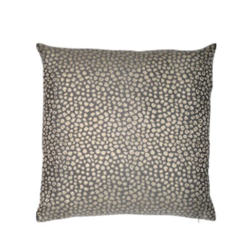 Stunning jacquard patterned grey Izmir Cushion in shades of gold