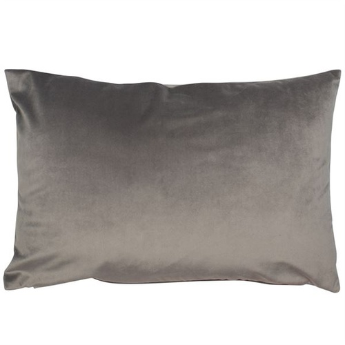 A rectangular matt velvet luxe grey cushion
