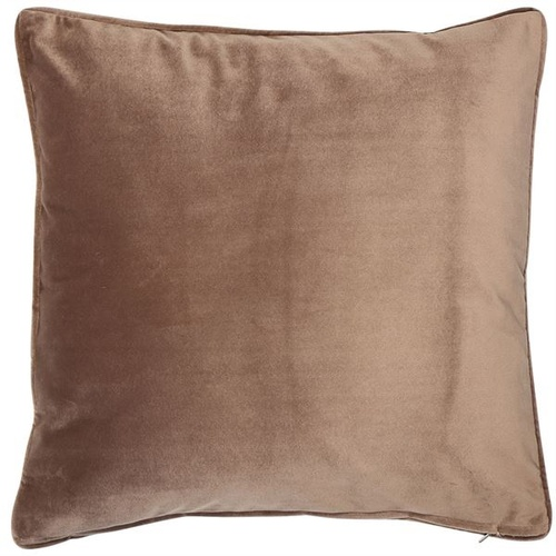 Luxe, plain, matte velvet cushion in a truffle colour, matching piped edge detail.
