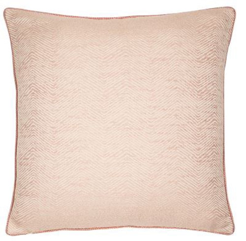 jacquard ripple, chevron pattern cushion in pink putty on a soft coloured ground fabric. Matching piped edges.