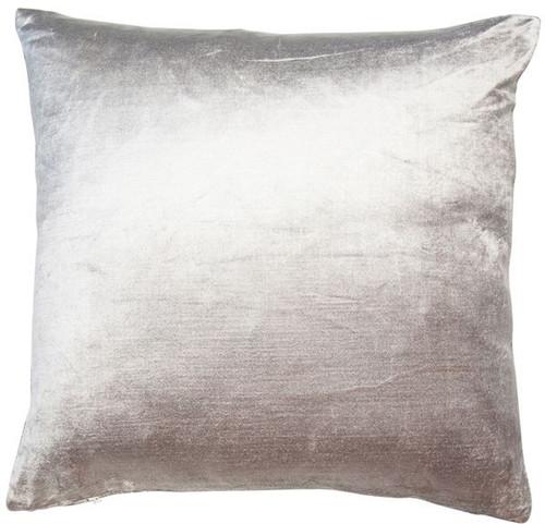 Velveteen cushion, soft plain velvet cushion grey/silver colour.
