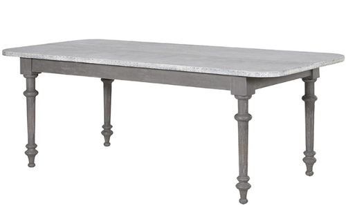 Large zinc topped dining table with riverted side, grey painted turned legs. A generous table with an elegant contrasting leg
