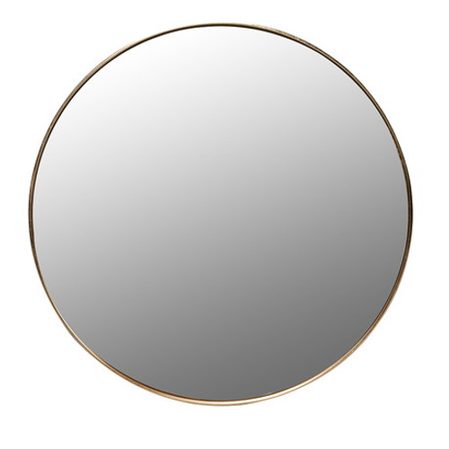 gold metal round framed wall mirror