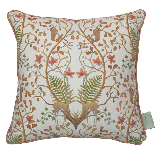 angel strawbridge chateau range autumn trail cushion with deer, squirrels and berries with cream colour background