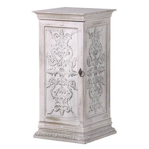 wooden whitewashed bedside table with carved panel detail