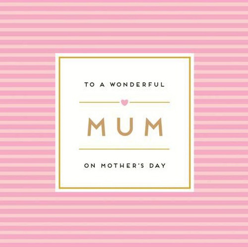 Wonderful Mum Striped Mothers Day  Card