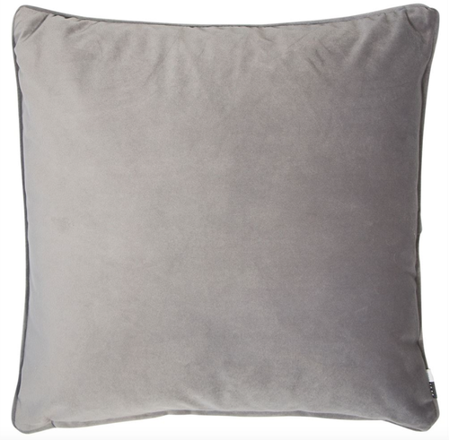 Luxe, plain, matte velvet cushion in a grey colour, matching piped edge detail.