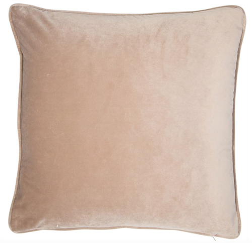 Luxe, plain, matte velvet cushion in a mink colour, matching piped edge detail.