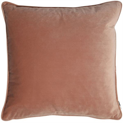 Luxe, plain, matte velvet cushion in a pink colour, matching piped edge detail.