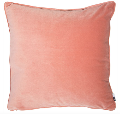 Luxe, plain, matte velvet cushion in a rose colour, matching piped edge detail.