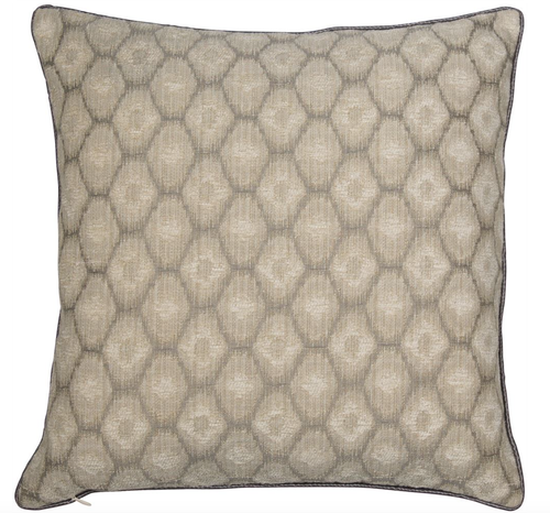 Sari cushion grey and cream alternating jacquard design  piped