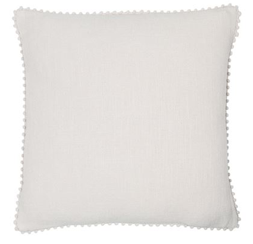 Emma cushion, silver linen cushion with pom pom detail piping on edge