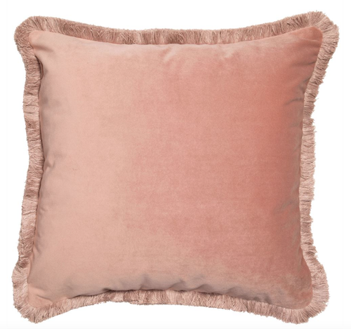 Meghan cushion matte velvet with fringe edging in pink