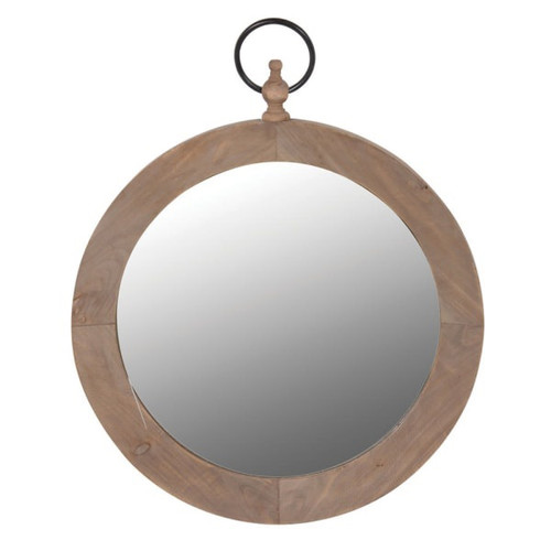 round, solid wood wall mirror with hanging hoop in bronzed finish.