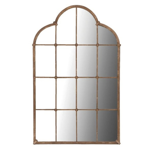large lattice mirror with curved top in a brass coloured finish