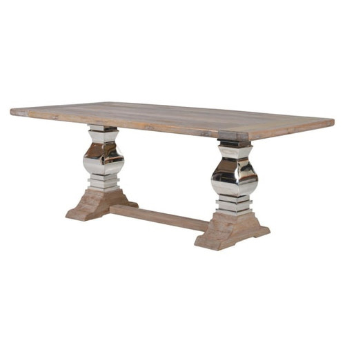 steel and wood rectory dining table in a light driftwood colour