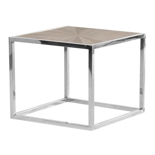 parquet topped square side table in a polished chrome frame
