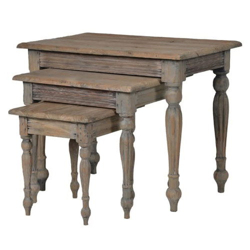 Nest of 3 tables in reclaimed weathered pine with turned legs