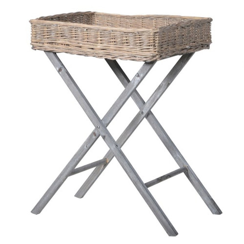 side table with removable willow tray and wooden base.