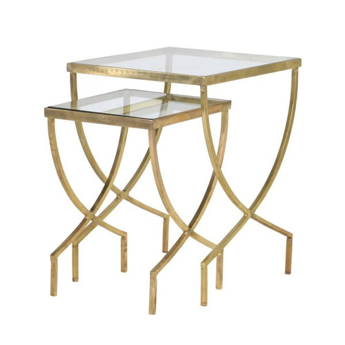 sleek greek inspired curved leg side table in gold colour
