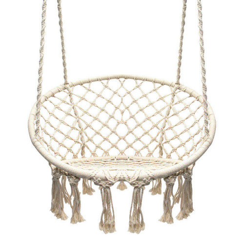 Beige macrame rope swinging chair in cotton, for outdoor or indoor use