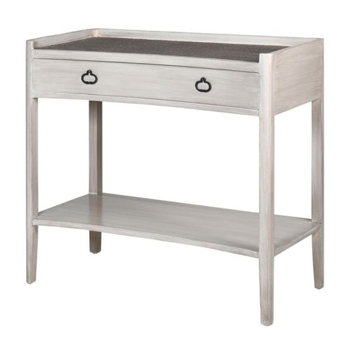 1 drawer grey wash effect nordic style console table with rattan effect top