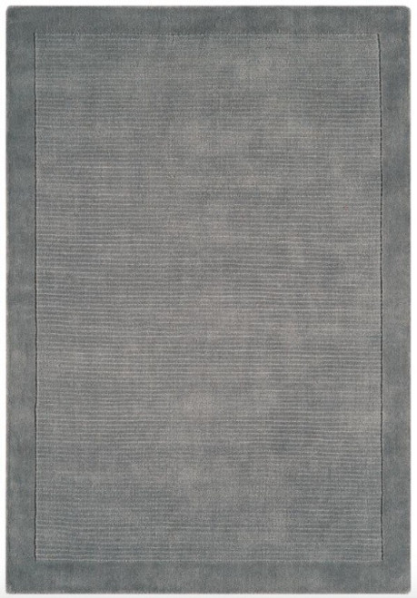 hand woven wool rug with contrasting pile border in grey