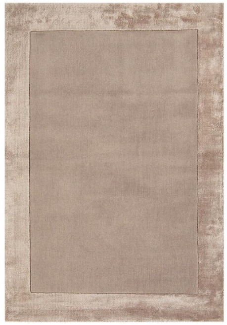 A warm wool rug with a smart viscose border in sand colour