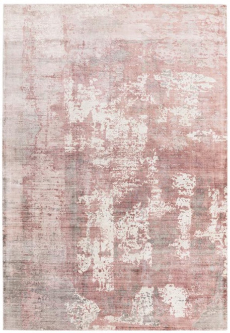 Tip sheared viscose rug with a screen printed abstract design in pink