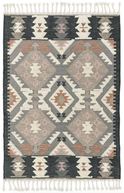 Aztec inspired rug with tassels, cut pile with contrasting raised elements