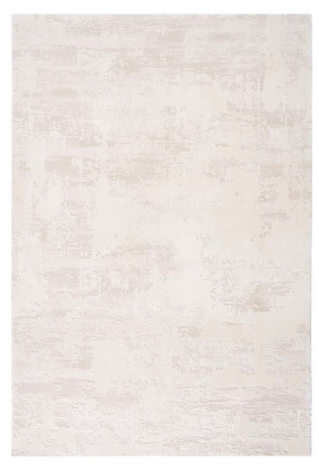 Machine woven rug featuring a multi-dimensional soft acrylic pile in ivory