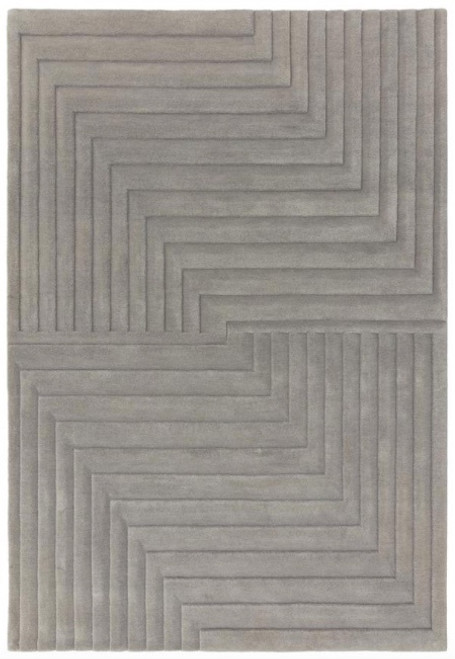 3D patterned rug in grey coloured wool, expertly hand carved