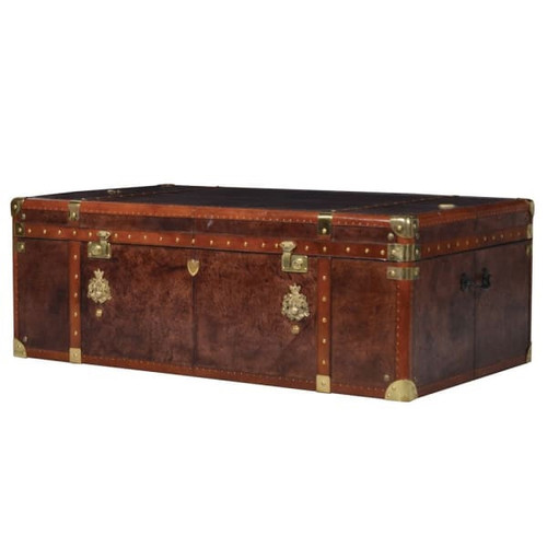 Louis Vuitton style vibes this leather storage trunk coffee table in leather