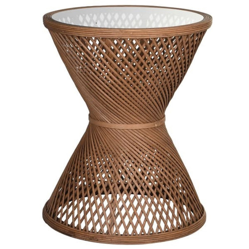 rattan cane side table with glass top, round
