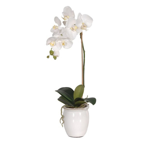 faux orchid in small pot
