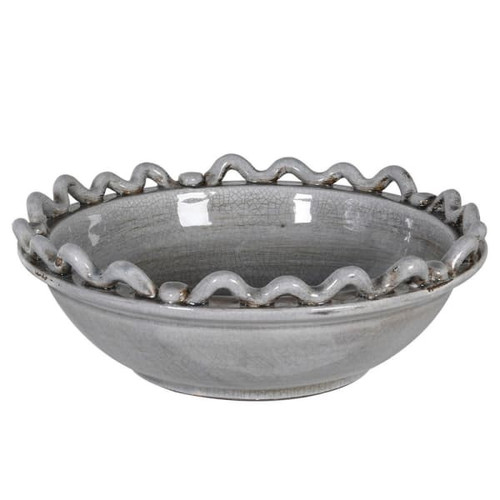 crackle glazed grey bowl hand finished, fruit bowl
