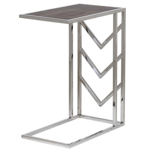 faux shargreen sofa table in stainless steel chrome