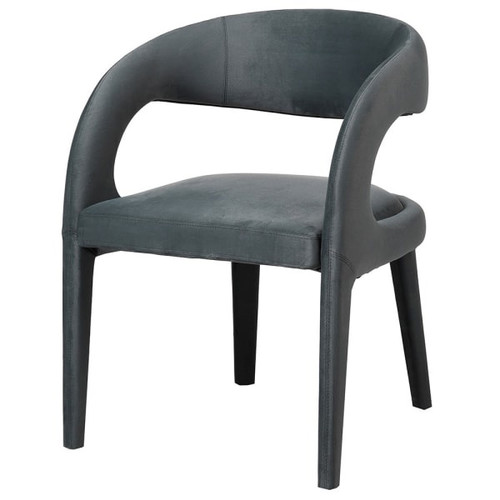This stunning open backed grey upholstered occassional chair would be the ideal partner to a sleek dressing table. Its stylish open back makes it less dominant than other solid back chairs.