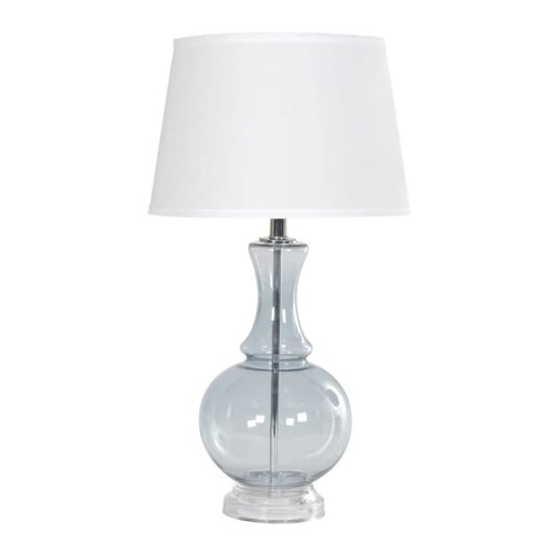 pale blue tint glass lamp with classic turned shape