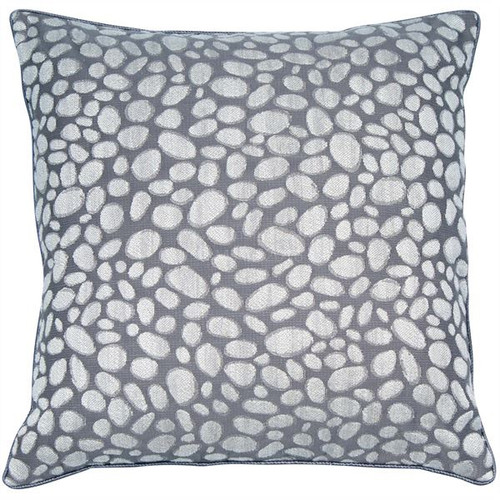 grey cushion pebble design cushion made on a jacquard loom finished with tonal piping