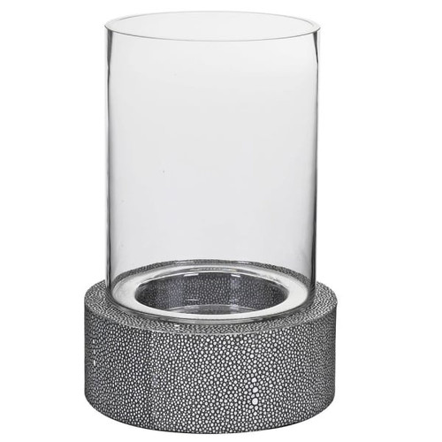 Grey Leather And Glass Hurricane Lamp in a faux shagreen