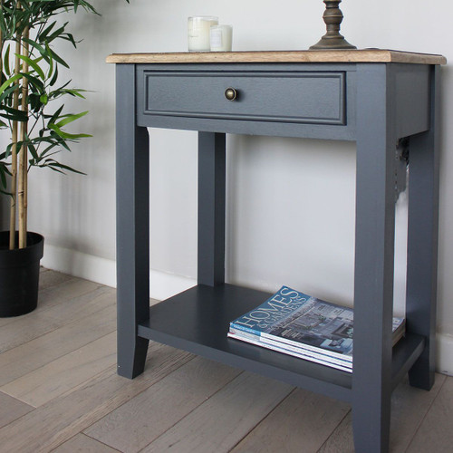 Grey And Teak Side Table / Bedside