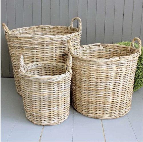 Washed Willow Baskets, Round in Varying Sizes