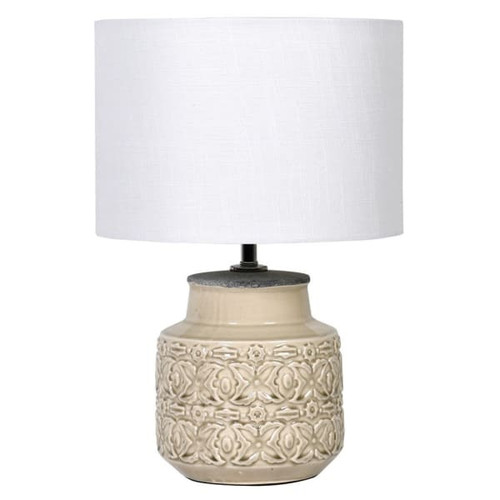 rustic cream Patterned lamp with white shade