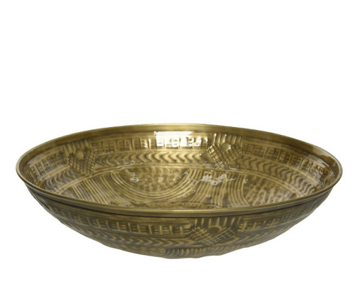 Iron Aztec Inspired Gold Embossed Bowl