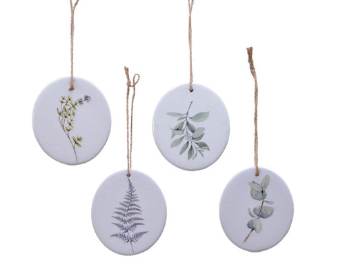 White Terracotta Hanging Discs, 4 Designs