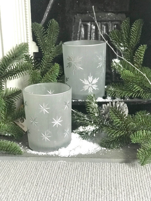 frosted etched tea light holders, snowflake, star